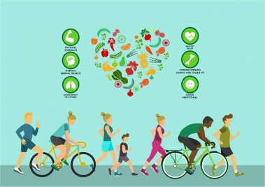 healthy lifestyle theme human exercise and fruit icons