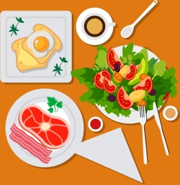 healthy meal background vegetables eggs bacon icons