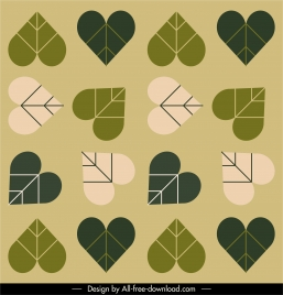 heart leaf pattern classical flat repeating design