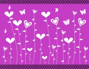 hearts flowers background violet flat design butterflies icons