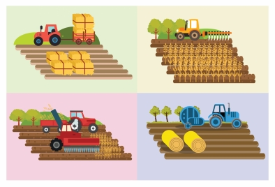 heavy machines on field drawings in colors style