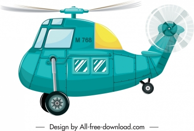 helicopter icon motion sketch bright blue decor