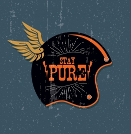 helmet advertising wings icon flat design retro decoration