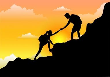help painting mountain climber icon cartoon silhouette design
