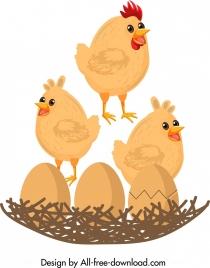 hen nest painting cute chicks eggs icons decor