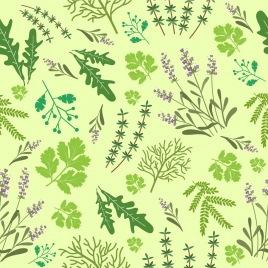 herbal background leaves flowers decoration repeating design
