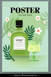 herbal beverage advertising poster flower leaf decor