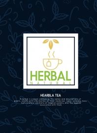 herbal tea advertisement cup sketch flowers leaves background