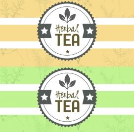 herbal tea stamp template flat serrated round design