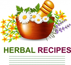 herbs advertising colorful flowers decoration pestle mortar icons