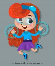 hero girl icon cute magic cartoon character sketch