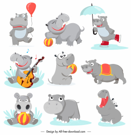 hippo icons cute stylized cartoon characters sketch