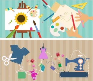 hobby design element painting sewing tools colorful decoration