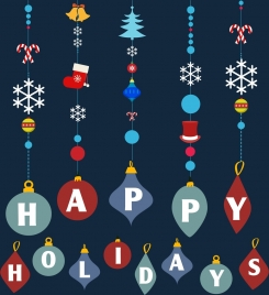 holiday decoration design elements hanging colorful objects icon