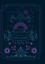 holidays greeting banner dark colored lines decoration