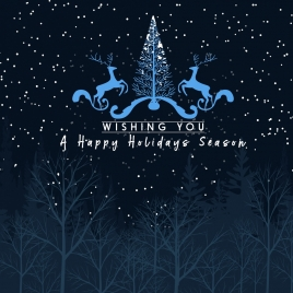 holidays season banner falling snows background reindeers icons