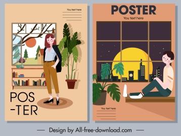 home decor posters furniture person sketch cartoon design