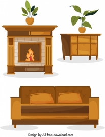 home furniture templates table sofa radiator icons