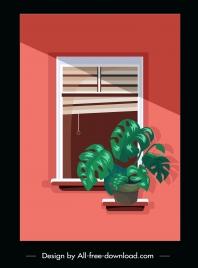 home window painting plant pot decor flat classic