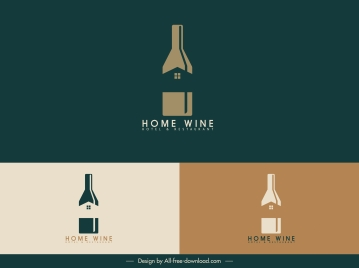 home wine logo template colored flat sketch