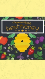 honey advertisement colorful beehive fruits leaves decoration
