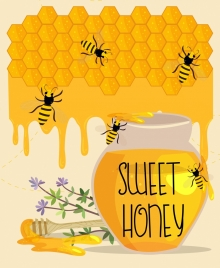 honey advertisement striped bees jar stick beehive decoration
