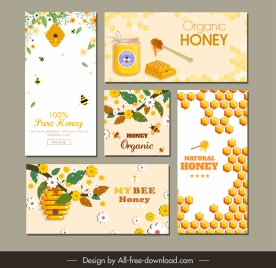 honey advertising banners colorful floras bees combs decor