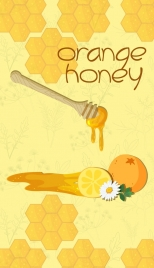 honey advertising yellow orange fruit beehive icons decoration