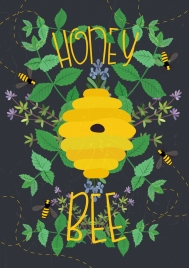 honey bee advertisement yellow beehive green leaves decoration