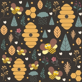 honey bee background repeating design stylized cartoon elements