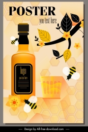 honey drink advertising poster bottle flower bees decor