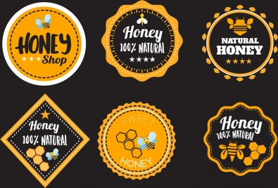 honey promotion labels black yellow design various shapes
