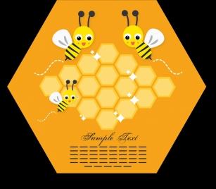 honeybees background cute stylized cartoon icons geometric frame