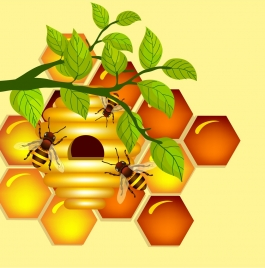 honeycomb background colored hexagon design leaf bee icons