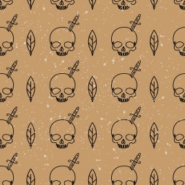 horror background skull sword decoration repeating style