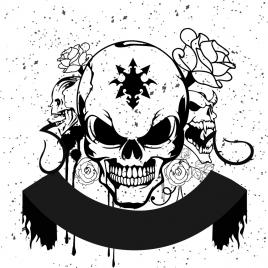 horror skull background black white design grunge style