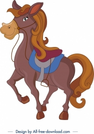 horse icon colored cartoon character design