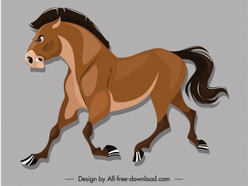horse icon colored cartoon sketch