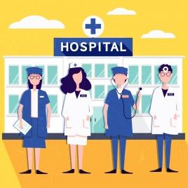hospital background doctor nurse icons colored cartoon