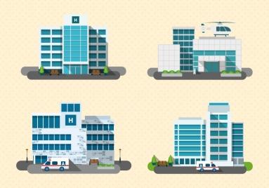 hospital design models with various types illustration