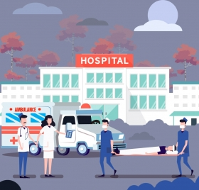 hospital drawing doctors patients icons colored cartoon