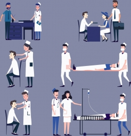hospital work design elements doctor patient icons