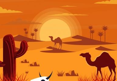 hot desert drawing colored cartoon design