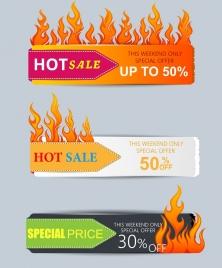 hot sale banner sets fire icon decoration