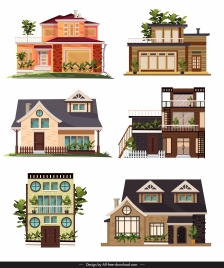 house architecture icons colorful modern design