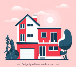 house architecture template flat sketch contemporary design