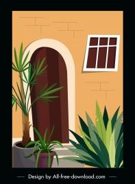house architecture template plants pots decor classic design