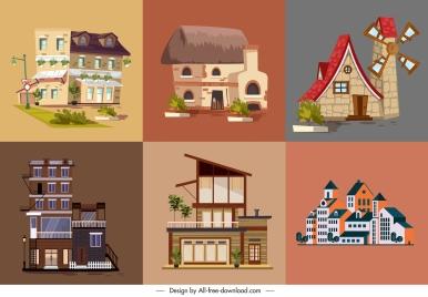 house architecture template retro modern sketch