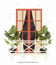 house balcony template flat sketch contemporary design