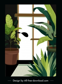 house decorative painting window flowerpot sketch retro design